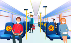 This is a graphic of commuters on public transit wearing masks and social distancing. The seats are marked off to prevent them from sitting too close.